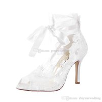 Wholesale Lace Wedding Shoes For Bride - high quality fashion ivory lace wedding shoes women high heels bride women shoes for evening party prom gown
