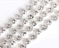 Crystal sparkle crafts - 1 Yard Sparkle Rhinestones Crystal Beads Wave Silver Plated Ribbon Chain Trim For Sewing Craft Diy