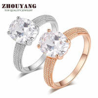 Women's oval diamonds rings - Top Quality Four Claw Oval CZ Diamond K Gold Plated Wedding Ring Made with Austrian Crystals ZYR427 ZYR428