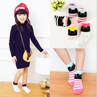 Wholesale Cheap Kids Winter Socks - 2016 New!Winter children cartoon striped socks,winter feather yarn cat terry kids socks baby indoor shoes,cheap floor shoes.20pairs 40pcs.JC
