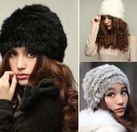 Wholesale Women Winter Hat Headgear - Hot selling Genuine Knit Rabbit Fur Winter Hat Nature Rabbit fur Cap Warm Women Headgear Headdress For Ladies Girls Wholesale JIA640