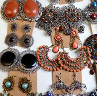 mücevher pancar küpeler toptan satış-Moda Renkli Abartılı Uzun Bölüm Takı Küpe Bohemian Püskül Taş Küpe Ucuz Mix Toptan Ücretsiz Kargo