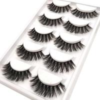 Wholesale Wholesale Professional Mink Eyelashes - 5 pairs thick false eyelashes black long 3d mink eyelashes eyelash extension professional mink lashes makeup eye lashes