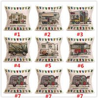 Wholesale Happy Hotels - Carton Happy Campers Motor Home Pillow Case Cushion Cover Linen Cotton Throw Pillowcases Sofa Car Decorative Pillowcover 100Pcs
