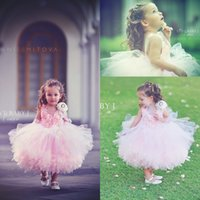 Wholesale Girls Tea Length Formal Dresses - Lovely Flower Girls Dresses For Toddles Jewel Beads Puffy Birthday Prom Kids Formal Wear Tea Length Cute Pageant Gowns For Weddings