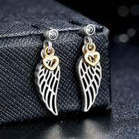Wholesale Angle Wings Earring - Love & Guidance Angle Wing Dangle Earrings in Sterling Silver with 14K Gold Hearts Elegant Pandora Style Earrings for Women ER026