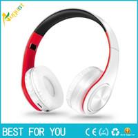 kulaklık mp3 mp4 kulaklık yüksek kalite toptan satış-Yüksek Kaliteli Bluetooth Kulaklık Stereo Takılabilir Kablosuz Kulaklıklar Kulaklık Mic ile Destek SD Kart