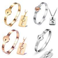 Wholesale Rose Gold Necklace Pink Sets - 2018 New Titanium steel necklace bracelet jewelry sets rose gold fashion lovers bracelet necklaces birthday present