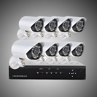 Wholesale Dvr 8ch 8pcs - DHL free 8CH H.264 Surveillance DVR 8PCS 480TVL Day Night Weatherproof Security Camera CCTV System H204