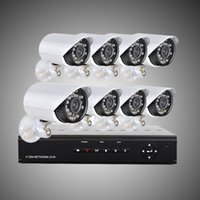 sistema de vigilancia h.264 al por mayor-DHL libre 8CH H.264 Vigilancia DVR 8PCS 480TVL Día Noche Cámara de seguridad a prueba de intemperie CCTV Sistema H204