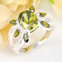 5 Pezzi 1 lotto Lucky Shine Stones Pattern Ring Glary Stars Peridot Crystal 925 Anelli in Argento Sterling Russian Russia American American Wedding Ring