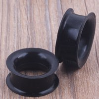 Wholesale Double Tunnel Plug - mix 4-25mm silicone double flare silicone flesh tunnel ear plug 96pcs black color body jewelry