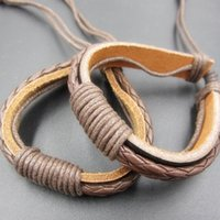 Cool Style Atacado 12PCS / lotes Ethnic Tribal Hand woven Real Leather Hemp Cord ajustável Wristband Bracelet