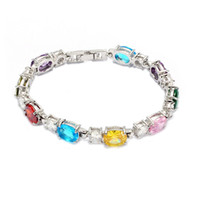 Wholesale Peridot Brand New - Brand New Rock Noble Generous MN663 Fancy Pink Red Amethyst Blue Peridot Cubic Zirconia Beautiful Copper Rhodium Plated for women Bracelets
