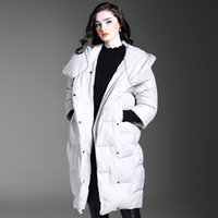 De Fee European Women 2017 Winter New Large Lapel Sleeve 90% White Duck Down Jacket с капюшоном Зимнее пальто с серым цветом