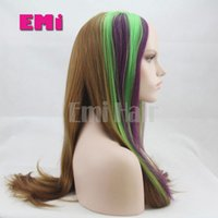 Peruca sintética resistente ao calor Long Perucas de cabelo reto Perucas de perna de renda Ombre Tone Colors Straight Long Synthetic Best Quality Hot Sale 2016