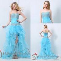 Wholesale Hi Lo Strapless Organza - 2015 Latest Free Shipping In Stock Light Sky Blue Strapless Sweetheart Beaded Sequin Ruffles Hi-Lo Organza Sexy Party Evening Prom Dresses