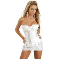 burlesque korse elbiseleri toptan satış-Beyaz Gelin Korse Burlesque Lace Up Boning Büstiyer Korse Elbise Mini Etek Lingere Korse Kadın Artı Boyutu Corpete Korse