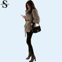 Wholesale Womens Fur Collar Coat - Korean Style Shaggy Faux Fur Coat Tie-Waist Long Sleeve White Kahaki Jacket Winter Womens Fur Suit Jackets CJE1013