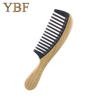 Wholesale Natural Horn Hair Comb - YBF Natural Green sandalwood Ox horn Sandal Wood Wide Tooth Hair Comb Professional Makeup Tools Brand Anti-electric Brushes
