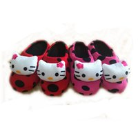 Wholesale Cat Flat Heels - Lovely 3D Figuer Cartoon Cat Plush Winter Indoor Slippers Warm Home Shoes Floor Slippers for Women Girls, 2 Colors House Shoes Kids Gift