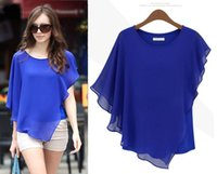 Wholesale Womans Xl Blouses - Plus Size Womans Blouses 2015 Summer New Fashion Black White Blue Short Batwing Sleeve Chiffon Top 2xl