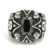 Wholesale Ruby Skull Ring - 1pc Fashion Cool Design Skull Huge Ruby Ring 316L Stainless Steel Man Boy Band Party New Jewelry Ruby Hot Ring