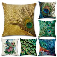 Wholesale Peacock Christmas Decor - Peacock feather series Home Christmas Decor Pillow Linen Cotton Cushion Decorative Throw Pillows Car cushion Not included Pillow core