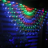 Wholesale Peacock Curtains - New 3M x 0.5M 504 LED Colorful Indoor Outdoor Net Peacock Web String Light Lamp For Christmas Wedding Party Festival Decoration