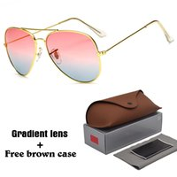 Wholesale free aviator sunglasses - High quality Aviator Sunglasses Men Women Brand Designer Driving glasses UV400 Goggle Metal Frame gradient Lenses with free brown cases