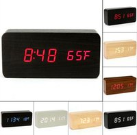 Wholesale modern wood alarm clock - Fashion Hot Modern sensor Wood Clock Dual led display Bamboo Clock digital alarm clock Led Clock Show Temp Time Voice Control