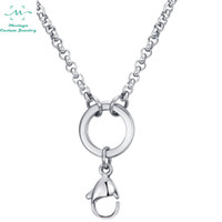 Wholesale Rolo Floating - 10pcs 2.5mm width 32inch 316L stainless steel lobster claw rolo chain necklace for floating glass locket essential oils diffuser locket