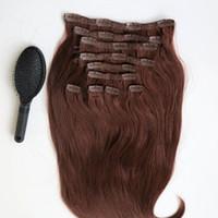 бразильский человеческий волос remy 33 оптовых-220g 20 22inch клип в наращивание человеческих волос бразильские волосы 33# цвет Реми прямые волосы ткет 10 шт./компл. бесплатно гребень