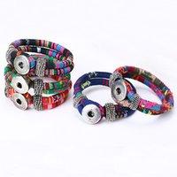 Wholesale Cotton Anniversary Gift - 2016 New Fashion Cotton Cord Bracelet Tibetan Silver Snap Button Bracelet Jewelry for Women Gift B380