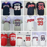 Wholesale Indian Stitch - 2018 Baseball Jerseys #99 Ricky Vaughn Cleveland Indians Jersey Baseball White Gray Blue Pullover Mens Flexbase Stitched Throwback