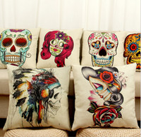 Wholesale Oil Paint Toxic - Skull Printed Pillow Cases Emoji cushion covers 45*45CM Vintage Cushion Cover oil painting Skull Pillow Case gift Home Textiles D73 12