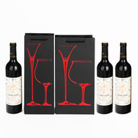Wholesale Bags Cardboard - Personality Pattern Design Bag Durable Black Cardboard Paper Pouch Resuable Eco Friendly Red Wine Bags Hot Sale 1 4zy B