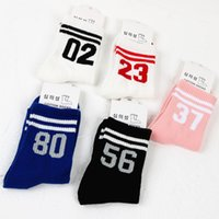 Wholesale stockings for sale - Fashion Sport Women Cotton Sock Solid Number Printed Stocking Harajuku High Socks Women Autumn Winter Casual Stockings