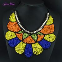 kolye modası kabile toptan satış-Moda Abartılı Ulusal Tribal Stil El Yapımı Yaka Kadınlar Için Renkli Reçine Boncuk Şekil Yaka Kolye Elbise CE3349