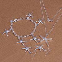 deniz yıldızı 925 bilezik toptan satış-Yüksek dereceli 925 ayar gümüş üç parçalı Denizyıldızı takı seti DFMSS124 marka yeni Fabrika doğrudan 925 gümüş kolye bilezik küpe