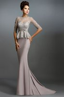 Wholesale Grey Strapless Evening Gown - Janique Dress Light Grey Lace Long Mermaid Mother of the Bride Dresses With Half Sleeves 2015 Peplum Formal Evening Gowns Evening Dress