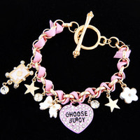 Wholesale Italy Flower Bracelet - Wholesale-New 2015 Girls Heart Star Charms Bracelet For Women Italy Luxury Brand Braided Crystal Flower Stars Cards A Free Shipping