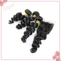 Wholesale Indian Loose Wave Virgin Hair With Closure Unprocessed A Loose Deep Curly Remy Human Hair Bundles And Lace Closure Free Middle Part