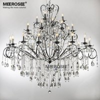 Wholesale Large Art Work - Large 28 Arms Wrought Iron Chandelier Crystal Light Fixture Chrome Lustre De Sala Crystal Hanging Lamp MD051 L28