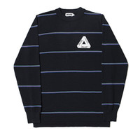 Wholesale Long Sleeve Printing Knitting Sweater - Men's PALACE Hoodies Triangle Letters Sweaters Cotton Round Neck Knit Sweater Coat Men Women Fashion Striend Hood Sweater
