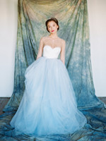 Wholesale Dress Wedding Tale - Summer Fairy Tale Princess Wedding Gowns Sparkling Crystal Sequins Sheer Long sleeves Lace Wedding Dress Ball Gown Blue Bridal Gowns