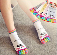 Wholesale Colorful Socks Toes - Cute colorful Women Socks Cartoon Smile Five Finger Socks Free Shipping Lovely Toe Socks Random Color Delivery Free Shipping JIA153