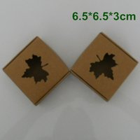 Wholesale Handmade Packaging For Candy - 6.5*6.5*3cm Kraft Paper Packaging Box Wedding Party Gift Packing Box With MAPLE LEAF Window For DIY Handmade Soap Jewelry Chocolate Candy