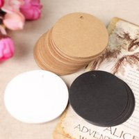 Wholesale Wholesale Blank Bookmarks - Wholesale- 500Pcs  Lot 5*5cm Round Kraft Paper Party Gift Cards Tags Scrapbooking Paper Crafts Tag Kraft Paper Label Blank Tag Bookmarks