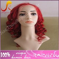 Wholesale Red Blonde Hairstyles - Hot sale Beyonce wavy Indian hair full lace wig in red color